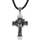 《QBOX 》FASHION 飾品【CLHP199】精緻個性歐美立體耶穌十字架鑄造鈦鋼墬子項鍊/掛飾