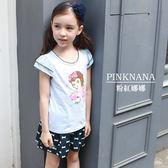 PINKNANA童裝 女大童娜娜印花雙層短袖棉質上衣36110