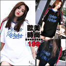 克妹Ke-Mei【AT43778】獨家,愛死了!龐克字母徽章撞色袖棒球T恤洋裝