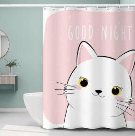 新品可愛浴簾擋水衛生間套裝免打孔窗簾布洗澡掛簾加厚防水隔斷 NMS名購新品