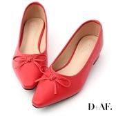 D+AF 春日繽紛.蝴蝶結尖頭低跟娃娃鞋*紅