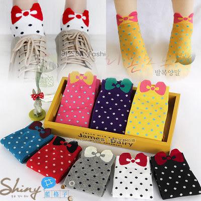 【20A28】shiny藍格子-糖果色可愛卡通蝴蝶結波點圓點女襪子棉襪短襪