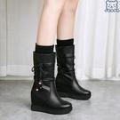 大碼中筒靴 新款韓版內增高子女冬季中跟套筒馬丁坡跟單靴4342女鞋 - 古梵希