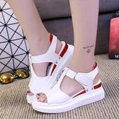 魚口鞋 涼鞋新款女夏平底魚口百搭厚底鬆糕潮仙女風學生涼鞋女-Ballet朵朵