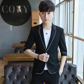 兩件套韓版修身小西服中袖薄款套裝潮夏季短袖外套男士休閒西裝 依凡卡時尚