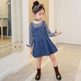 女童連身裙春秋2020新款牛仔裙背帶小女孩長袖洋氣兒童裙子童裝女 童趣屋