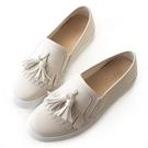 amai動物友善皮革-超纖流蘇厚底休閒鞋 白