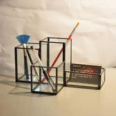 創意時尚商務辦公簡約多功能筆筒玻璃復古金色文具工藝收納盒筆筒   LannaS