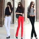 窄管褲 四季新款白色彩色彈力顯瘦糖果色韓版微喇牛仔褲女裝長褲子潮