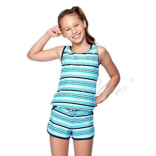 ☆小薇的店☆台灣製聖手品牌【亮彩條紋款式】女童二件式連身褲泳裝特價990元NO.A82418(S-L)