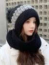 毛線帽女秋冬百搭韓版可愛針織帽防寒護耳護脖加厚連帽子圍巾一體