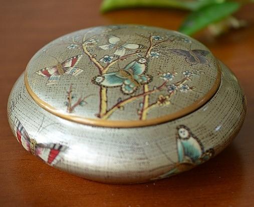 錦纏蝶盅皿置物罐