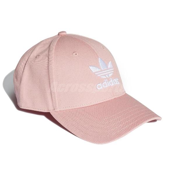 adidas 帽子 Trefoil Baseball Cap 粉 白 男女款 老帽 三葉草 棒球帽 【PUMP306】 EK2994