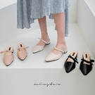 MIUSTAR 氣質蝴蝶結瑪麗珍尖頭低跟拖鞋(共3色,36-40)【NJ1186ZP】預購