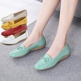 媽媽鞋女單鞋舒適平底軟底皮鞋中老年防滑豆豆鞋女鞋老人奶奶『向日葵生活館』