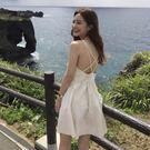 Qmigirl 渡假風連身裙 V領露背交叉背心短洋裝【T703】