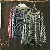 寬鬆彩扣條紋毛衣針織衫套頭上衣/設計家 Y4889