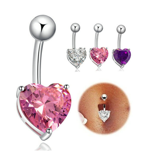 316L醫療鋼 愛心心型粗針肚臍環-白、粉、紫水晶 防抗過敏