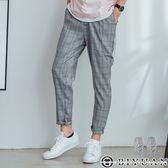 【OBIYUAN】哈倫褲 復古 細線格紋 休閒長褲 (附掛鍊) 共2色【T88928】