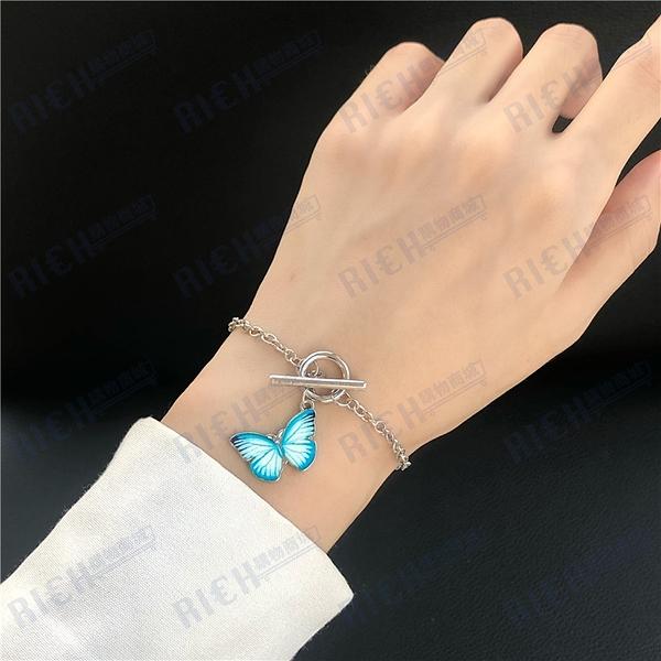 森系少女感ins日韓風潮流鏈條式個性手鏈唯美蝴蝶亮色手飾