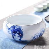 茶洗粗陶茶洗大號 陶瓷水洗碗 手繪杯筆洗 水培花盆 功夫茶具茶道配件 海角七號