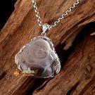 銀飾品白水晶彌勒佛像佛頭吊墜...