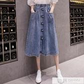 高腰復古牛仔裙女2020新款夏裝韓版時尚寬鬆大碼休閒半身裙中長款  萬聖節狂歡