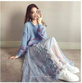 針織毛衣半身裙套裝S-XL韩版新款女宽松v领毛衣 中长款网纱半身裙套装两件套T126-901