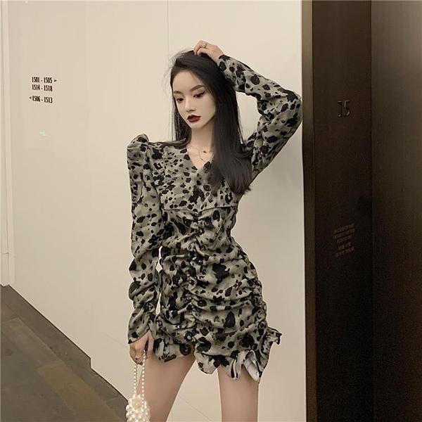 年前特銷 冬季連衣裙法式年新款時尚氣質顯瘦性感豹紋打底短裙子女裝潮