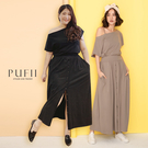 PUFII-套裝 一字領上衣+排釦長裙套...