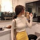 長袖針織衫韓版素色基礎半高領打底衫緊身【少女顏究院】