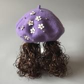 女童羊毛呢長發貝雷帽兒童帽韓國帽子女寶寶小女孩禮帽秋冬假發帽