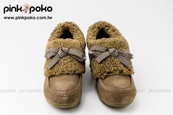 專櫃鞋/雪靴☆PINKPOKO粉紅波可☆日系冬季首選暖物*毛茸茸包踝緞帶式蝶結坡型/微厚底雪靴~2色#J5587