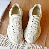 老爹鞋真皮小白鞋女厚底做舊運動鞋的鬆糕鞋子女igo