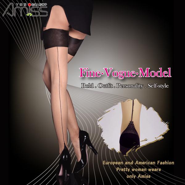 Amiss【A302-26】歐系‧性感背線束口大腿襪(2色)