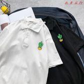 POLO衫女可愛寬鬆韓版翻領T恤