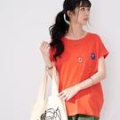 【慢。生活】卡通圖案刺繡連袖T恤 1553  FREE 橘色