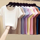 +E9635# 圓領莫代爾棉夏圓領輕薄顯瘦短袖T恤女 &小咪的店&