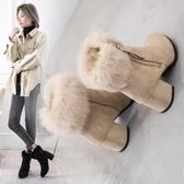 中跟短靴2019秋冬時尚大尺碼休閒加絨保暖粗跟尖頭毛毛馬丁靴 XN7311【極致男人】