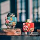 韓式手繪延禧花盆手工透氣粗陶陶瓷多肉植物花盆【時尚大衣櫥】