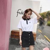 正韓時尚休閒套裝女裝中長款Polo領短袖T恤上衣 半身裙兩件套