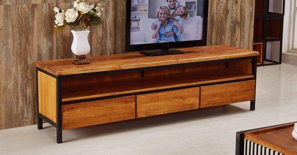 【森可家居】凱門6尺工業三抽長櫃 7JF213-2 電視櫃 木紋質感 北歐工業風
