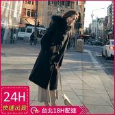 免運★梨卡 -【韓國製】超顯瘦中長版不起毛球牛角扣大毛領毛呢外套風衣長大衣AR021-1