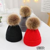 兒童帽子秋冬季男童女童0毛線針織帽1寶寶嬰兒2保暖3大毛球5潮7歲 街頭布衣