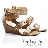 ★零碼出清★ Keeley Ann 春天氣象~微鏤空幾何後拉鍊涼鞋(棕色)