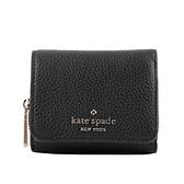 【KATE SPADE】Leila 荔枝皮革拉鍊零錢袋三折短夾(黑色) WLR00399 001