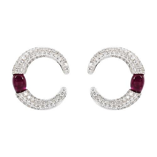 apm MONACO法國精品珠寶 閃耀鑲鋯紅寶石銀色c型耳環 AE10307XKR