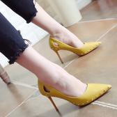鉚釘尖頭高跟鞋 女高跟鞋涼鞋【多多鞋包店】z1271