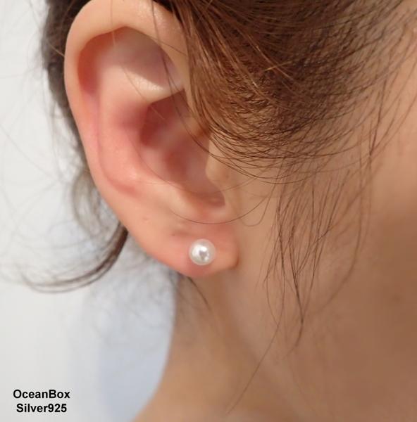 §海洋盒子§百搭白色珍珠925純銀耳環.可戴耳骨耳垂耳窩 (925純銀外鍍專櫃級正白K)