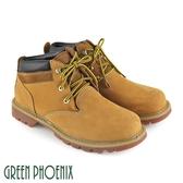 T12-19655 男款牛皮低筒靴  異材質拼接綁帶蠟感牛皮平底低筒黃靴【GREEN PHOENIX】